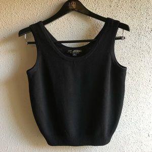 St. John Basics Black Knit Sleeveless Tank Top
